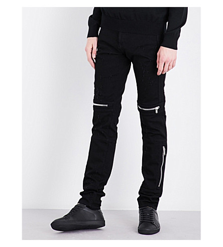 GIVENCHY Distressed straight-leg skinny jeans (Black
