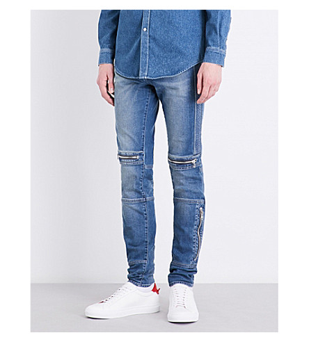 GIVENCHY Biker-detail mid-rise tapered jeans (Blue