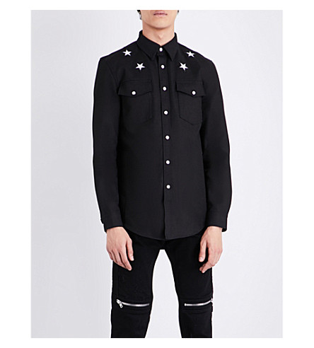 GIVENCHY Star-embroidered slim-fit stretch-denim shirt (Black