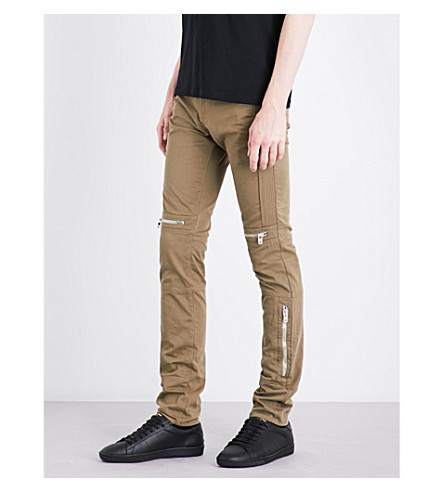 GIVENCHY Biker-detail mid-rise tapered jeans (Light+khaki