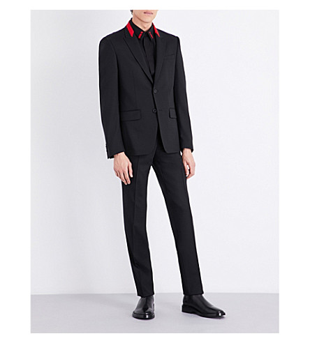 GIVENCHY Red-detailed slim-fit stretch-wool suit (Black+red