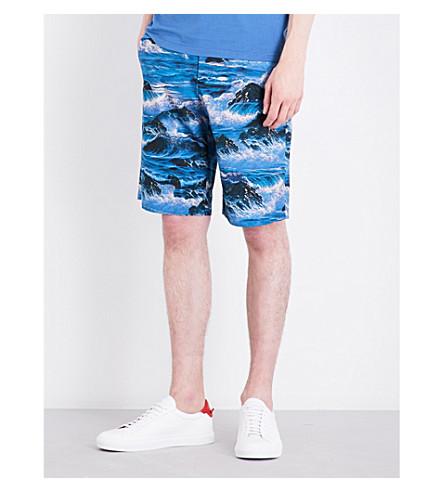 GIVENCHY Hawaiian cotton shorts (Black+blue