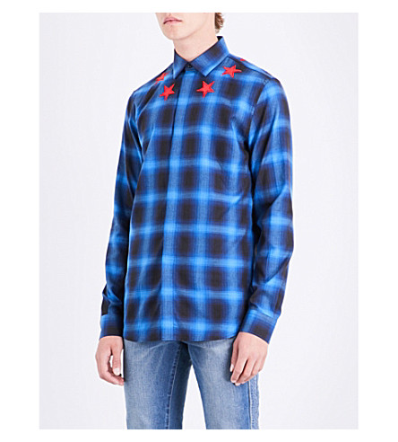 GIVENCHY Checked star-embroidered slim-fit shirt (Blue+red