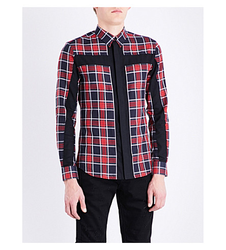 GIVENCHY Checked slim-fit cotton shirt (Red