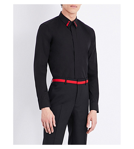 GIVENCHY Star-embroidered slim-fit cotton shirt (Black+red