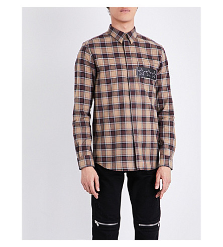 GIVENCHY Checked contemporary-fit cotton shirt (Tobacco