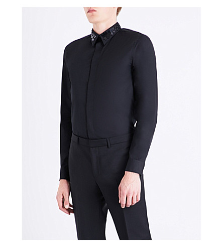 GIVENCHY Star-embroidered contemporary-fit cotton shirt (Black