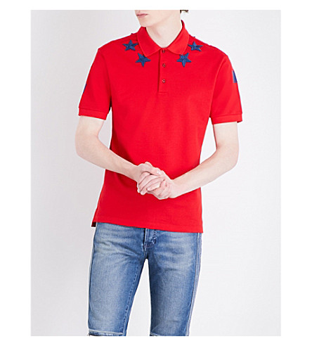 GIVENCHY Cuban-fit star-embroidered cotton-piqué polo shirt (Red+blue
