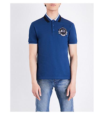GIVENCHY Monkey patch-detailed cotton-piqué polo shirt (Blue