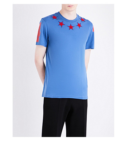 GIVENCHY Star appliqué cotton-jersey T-shirt (Blue