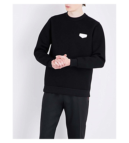 GIVENCHY Leather-appliqué neoprene sweatshirt (Black