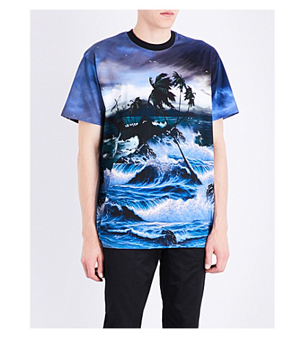 GIVENCHY Seascape-print cotton-jersey T-shirt (Blue