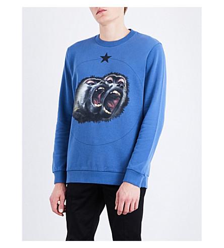 GIVENCHY Monkey Brothers-print cotton-jersey sweatshirt (Blue