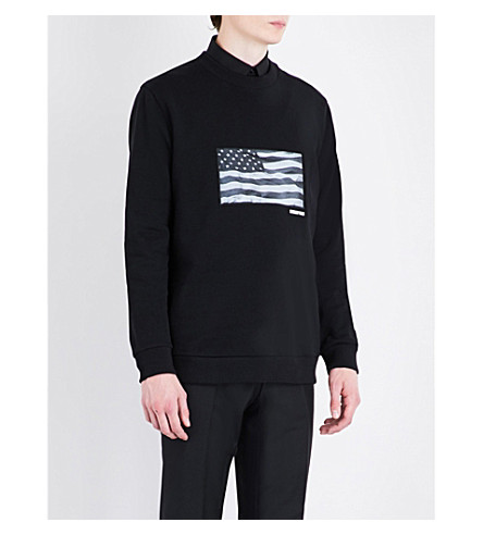 GIVENCHY American Flag-print cotton-jersey sweatshirt (Black