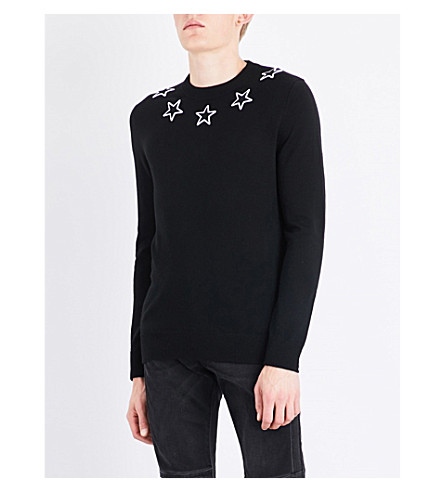 GIVENCHY Star appliqué wool jumper (Black+white
