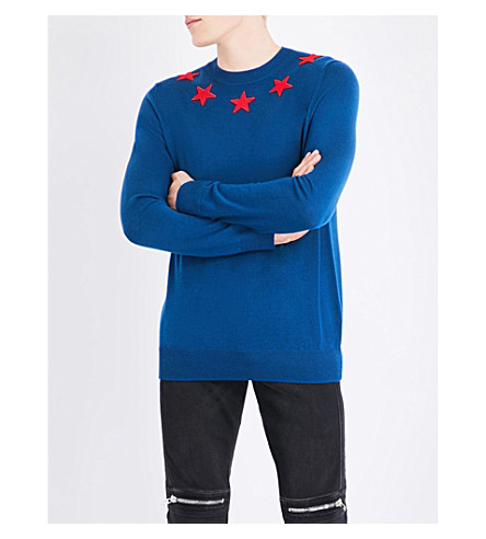 GIVENCHY Star appliqué wool jumper (Blue+red
