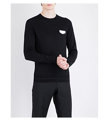GIVENCHY Leather-appliqué wool jumper (Black+white