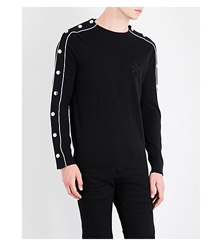 GIVENCHY Popper-fastened knitted jumper (Black