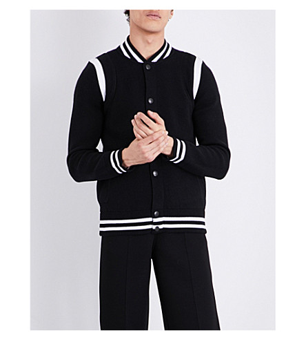 GIVENCHY Contrast-trim knitted wool-blend bomber jacket (Black