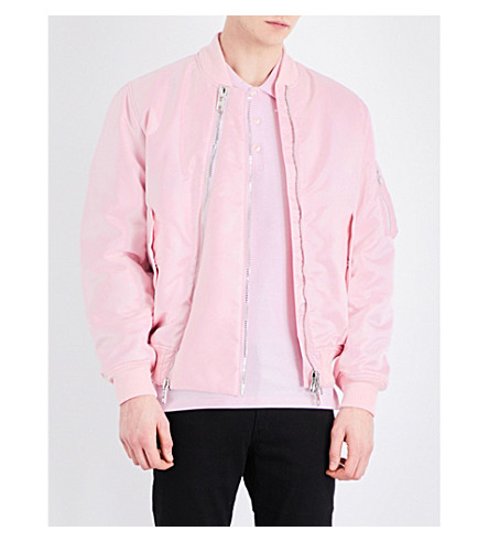 GIVENCHY Zip-detailed satin bomber jacket (Pink