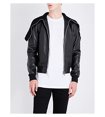 GIVENCHY Knitted-collar leather bomber jacket (Black