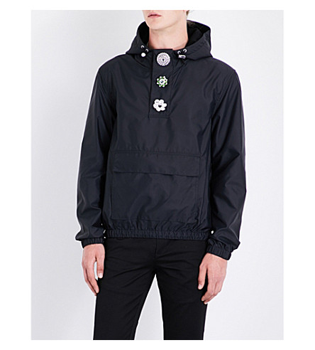 GIVENCHY Button-embellished hooded shell jacket (Black