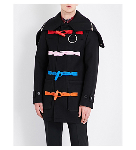 GIVENCHY Multicolour-detail hooded wool coat (Black