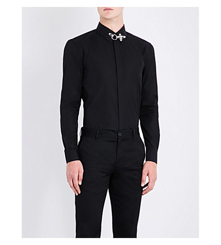 GIVENCHY Hardware-detail slim-fit cotton shirt (Black