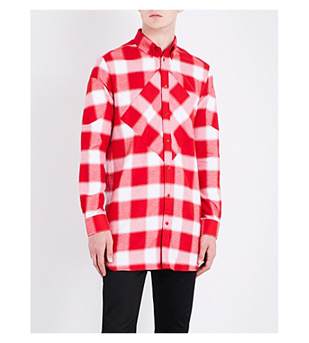 GIVENCHY Checked regular-fit cotton shirt (Red+white