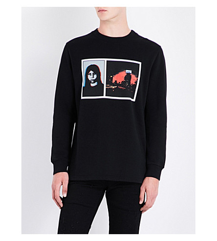 GIVENCHY Double-print cotton-jersey sweatshirt (Black