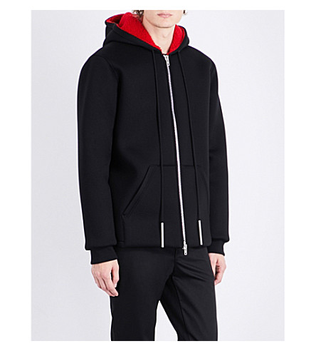 GIVENCHY Fleece-lined neoprene jacket (Black+red
