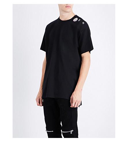 GIVENCHY Embellished-shoulder cotton-jersey T-shirt (Black