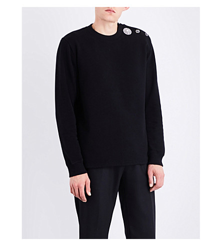 GIVENCHY Embellished-shoulder cotton-jersey sweatshirt (Black