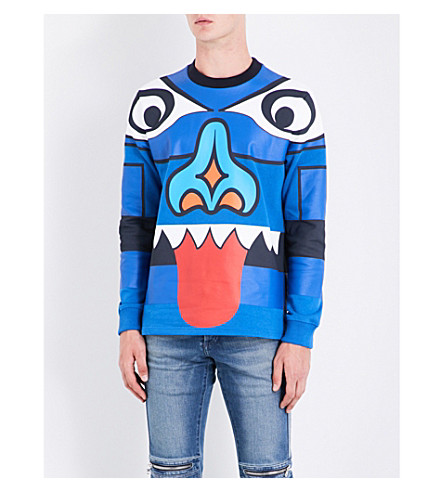 GIVENCHY Face-print cotton-jersey sweatshirt (Indigo+blue