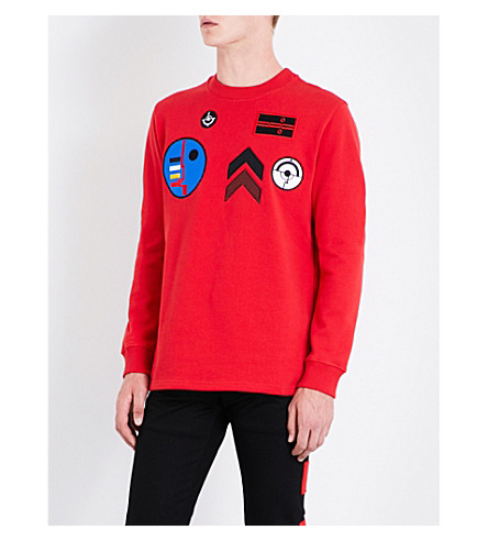 GIVENCHY Badge-embroidered cotton-jersey sweatshirt (Red