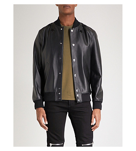 GIVENCHY Star-embroidered leather bomber jacket (Black