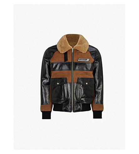 GIVENCHY Shearling-trimmed leather jacket (Brown