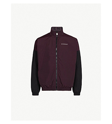 GIVENCHY Logo-print two-tone shell jacket (Dark purple