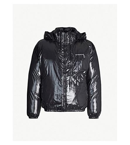GIVENCHY High-shine logo-print shell puffer jacket (Black