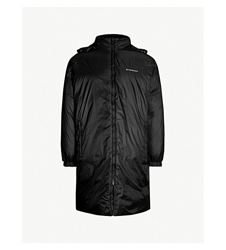 GIVENCHY Logo-print reversible shell hooded coat (Black