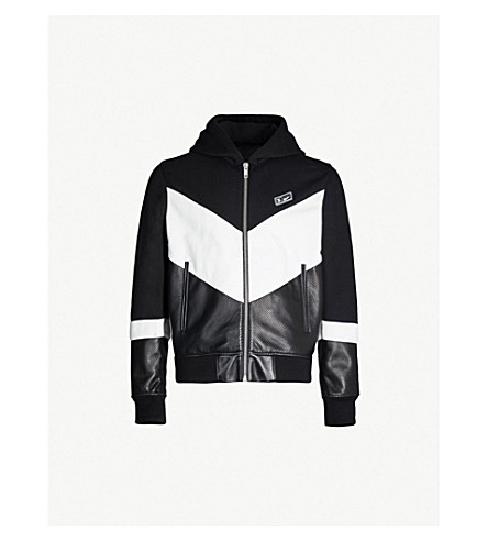 GIVENCHY Colour-blocked cotton-jersey and leather hoody (Black white