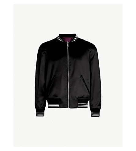 GIVENCHY Embroidered satin-twill bomber jacket (Black