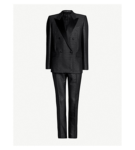 GIVENCHY Double-breasted slim-fit metallic jacquard suit (Black
