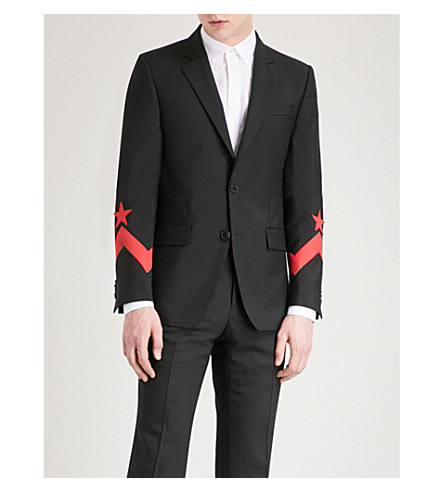 GIVENCHY Star-detail slim-fit wool-blend jacket (Black+red