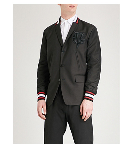 GIVENCHY Bomber-sleeve wool-blend jacket (Black