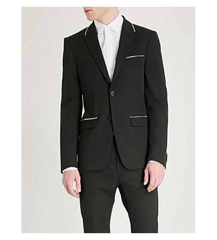 GIVENCHY Zip-embellished wool-blend jacket (Black