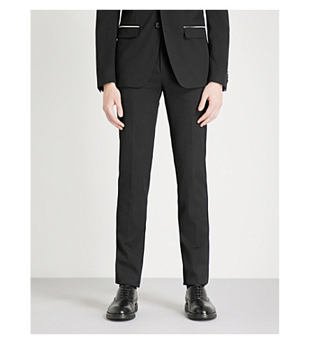 GIVENCHY Zip-embellished slim-fit wool-blend trousers (Black