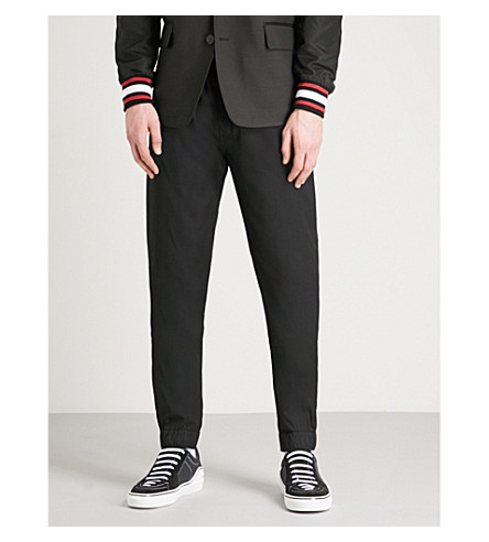 GIVENCHY Striped-detail skinny wool-blend trousers (Black