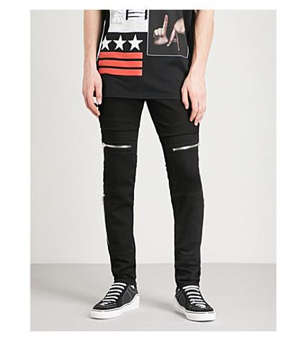 GIVENCHY Biker-detail slim-fit skinny jeans (Black