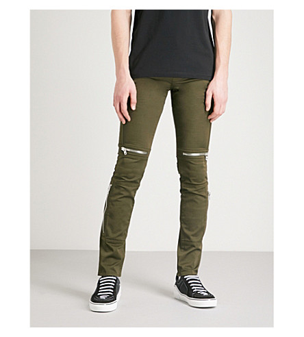 GIVENCHY Biker-detail slim-fit skinny jeans (Khaki